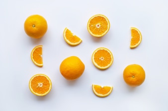 Fresh orange citrus fruits on white