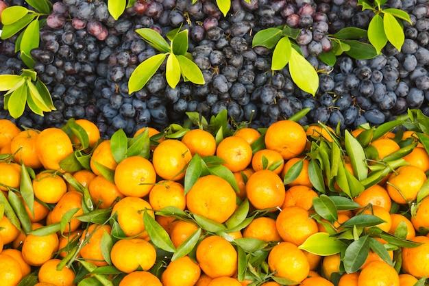 Fresh orange and grape fruit top view