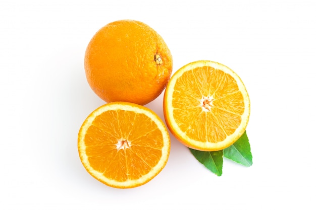 Fresh orange isolated on white in top view