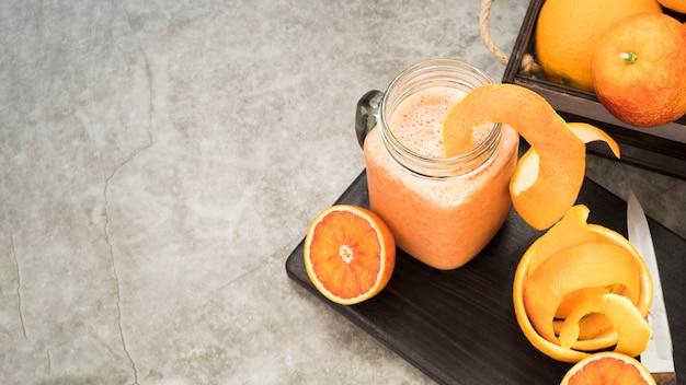 Fresh orange juice with copy space