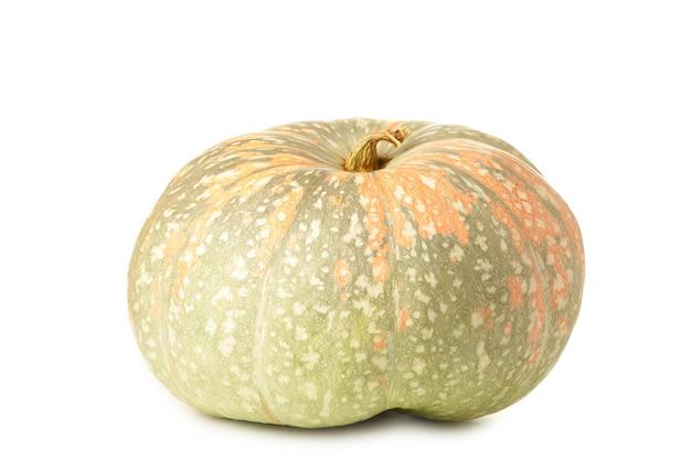 Fresh orange pumpkin isolated on white background. top view