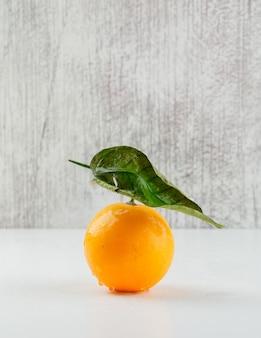 葉、側面図と新鮮なオレンジ。