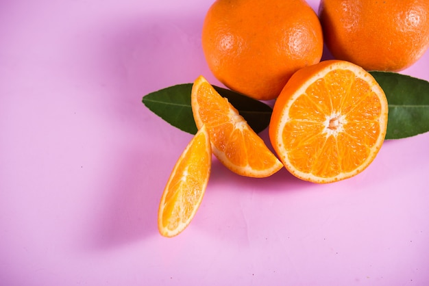 Fresh orange with orange slice