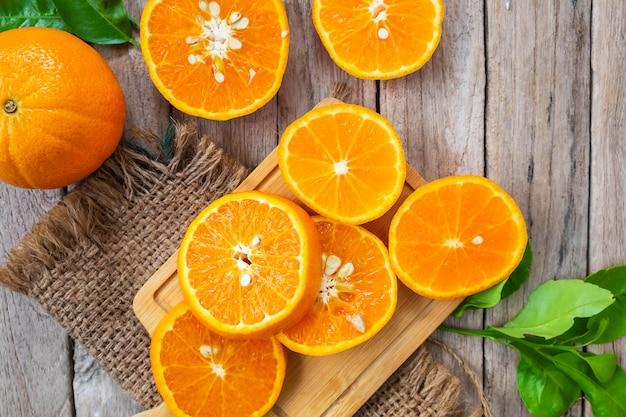 Fresh oranges  fruit  slice on a wooden