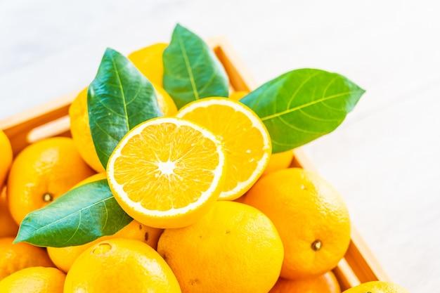 Fresh oranges fruit on table