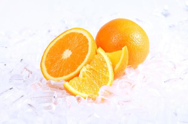 Fresh oranges and ice