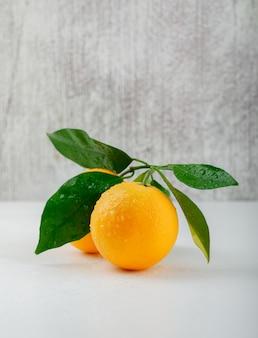 Свежие апельсины с боковым видом на ветку