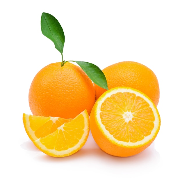 Fresh oranges with leaves on white background