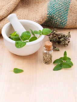 Fresh oregano and dry with mortar on a wooden background.
