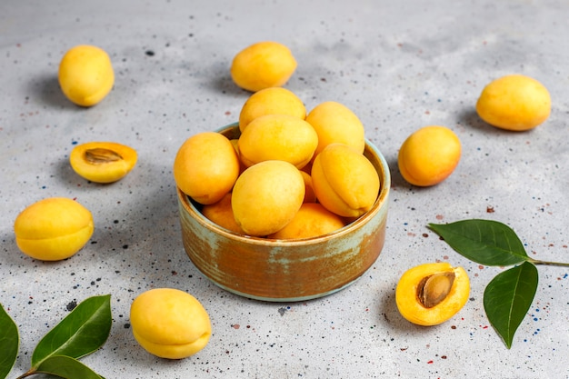 Fresh organic apricots,summer fruit,top view