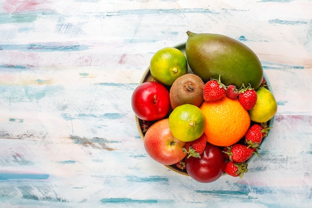 Fresh organic assorted fruits and berries.