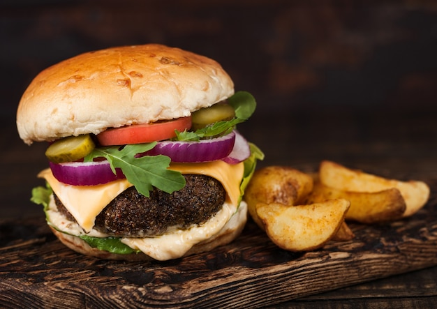 Fresh organic beef burger with cheese
