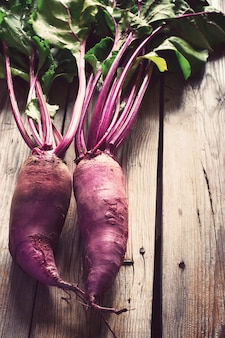 Fresh organic beetroot on a wooden table