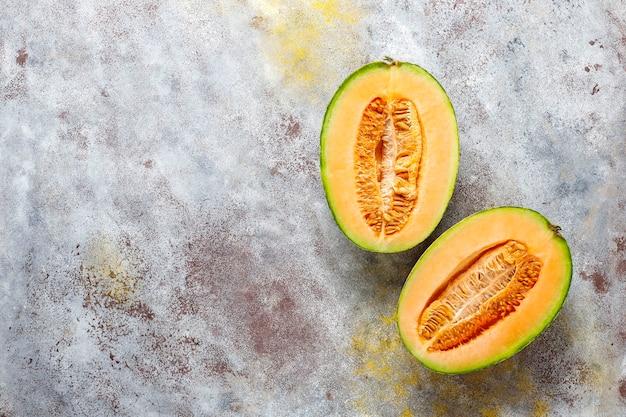 Fresh organic cantaloupe melon.