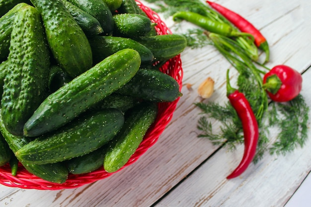Fresh organic cucumbers in red basket on white wooden table with green and red and chili peppers, fennel, salt, black peppercorns, garlic, pea, close up, healthy concept, top view, flat lay