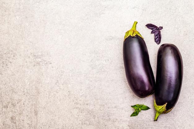 Fresh organic eggplants