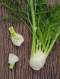 Fresh organic fennel bulbs .