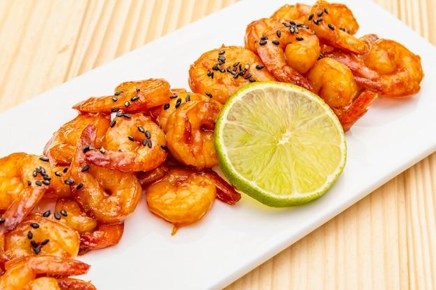 Fresh organic fried shrimp (prawns)