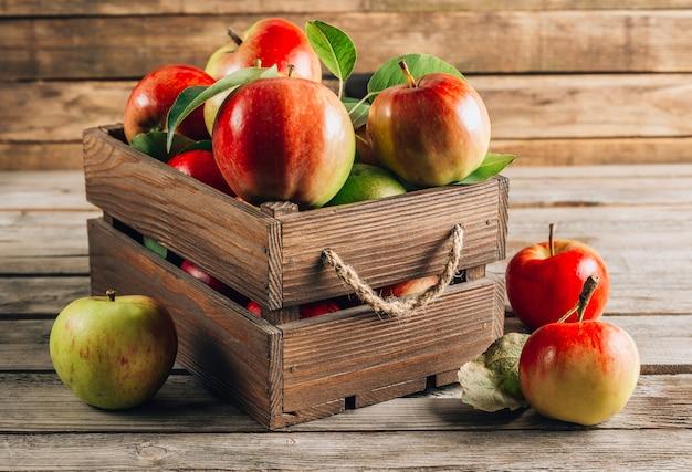 나무 상자에 신선한 유기농 녹색 및 빨강 사과
