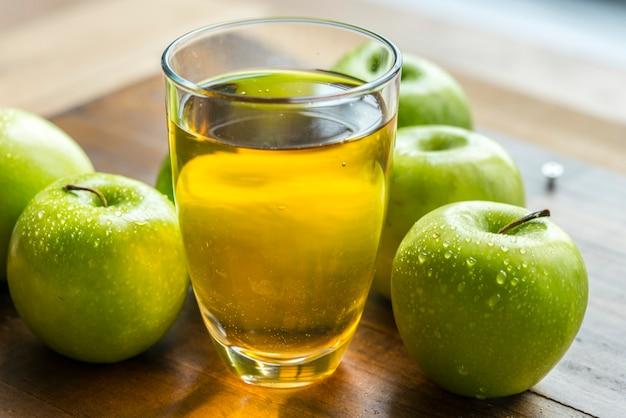 Fresh organic green apple juice