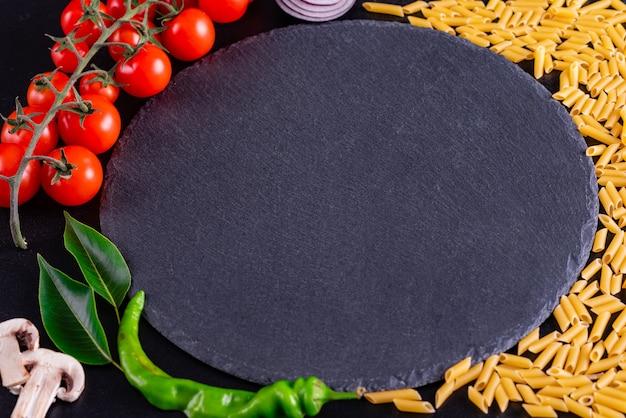 Fresh organic ingredients of italian recipes
