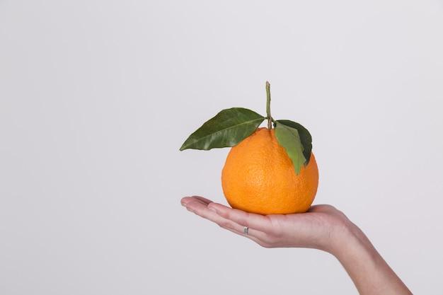 白い背景で隔離の女性の手のひらの上に新鮮な有機オレンジフルーツ