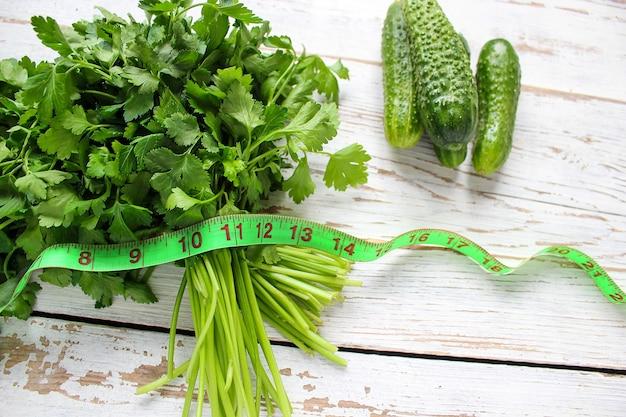 Fresh organic parsley and cucumber