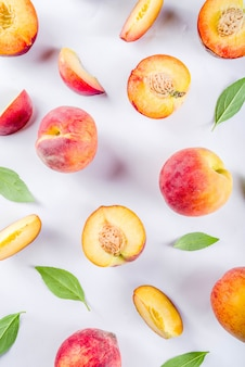 Fresh organic peaches, simple pattern