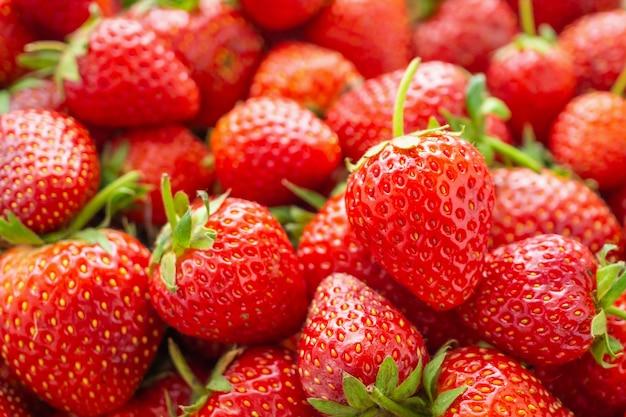 Свежие органические красные спелые клубники фрукты фон крупным планом