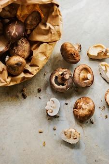 Fresh organic shiitake cremini mushroom