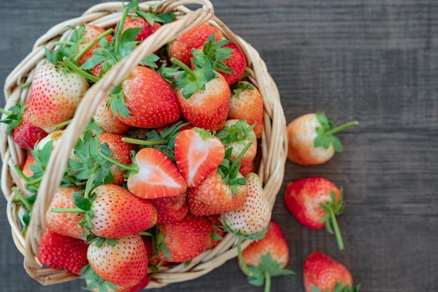 Fresh organic strawberry on basket