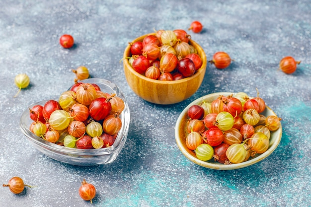 Fresh organic sweet gooseberries in bowl