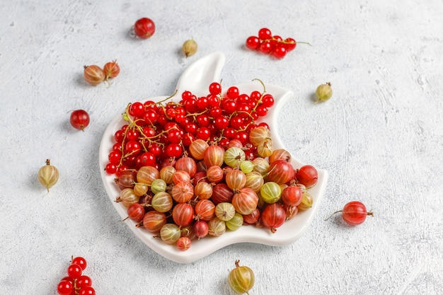 Fresh organic sweet gooseberries and red currant in bowls