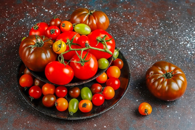 Fresh organic various tomatoes.