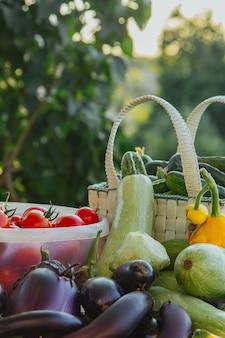 庭のテーブルの上のバスケットに新鮮な有機野菜や果物。健康的な食事ナス、スカッシュ、キュウリ、トマト、ズッキーニ。サラダに野菜。