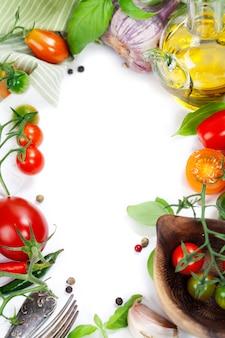 Fresh organic vegetables frame