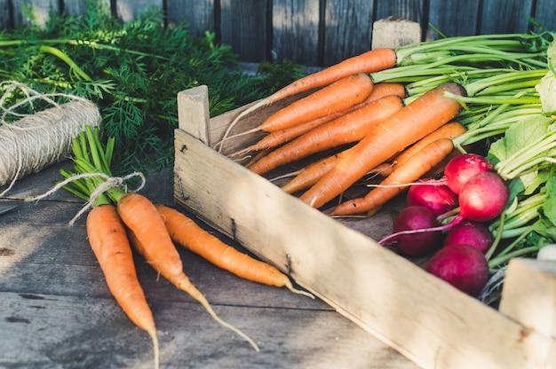 Свежие органические овощи в деревянном ящике. концепция корнеплодов, органических сырых продуктов