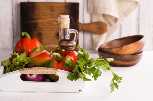 Fresh organic veggies for salad