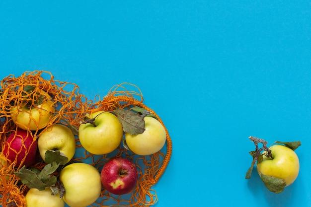 파란색 배경에 주황색 격자에 잎이 있는 신선한 유기농 노란색 및 빨간색 사과
