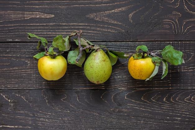 자연 갈색 나무에 중앙에 신선한 유기농 노란 사과와 녹색 배