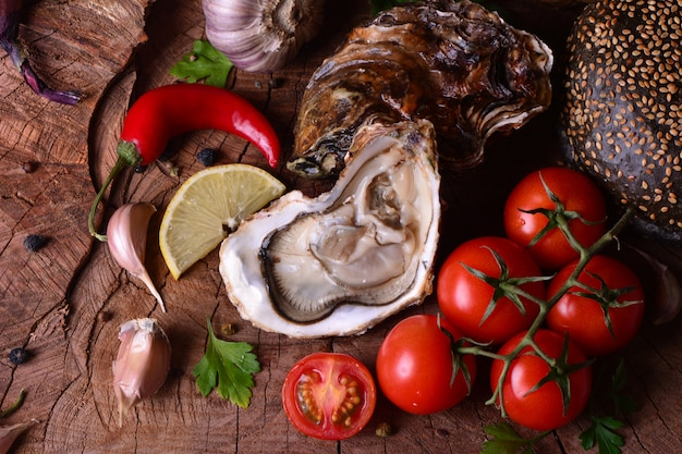Fresh oyster and vegetables