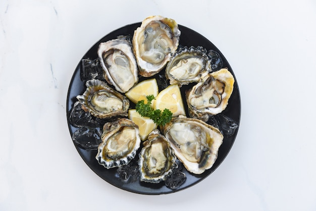 Fresh oysters seafood on a black plate background - open oyster shell with herb spices lemon rosemary served table and ice healthy sea food raw oyster dinner in the restaurant gourmet food