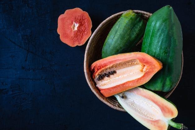 Fresh papaya in a basket