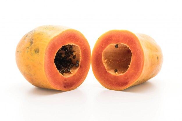 Fresh papaya on white