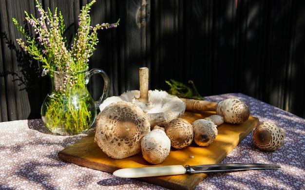 秋の屋外のテーブルに新鮮なパラソルキノコ(macrolepiota procera)