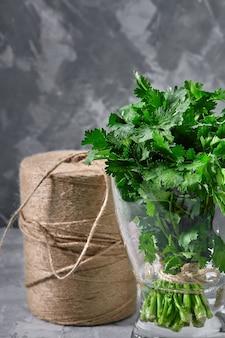 Свежий пучок петрушки в воде, серый фон, серый фон, органические продукты, макет для здорового питания и реклама органического ресторана.