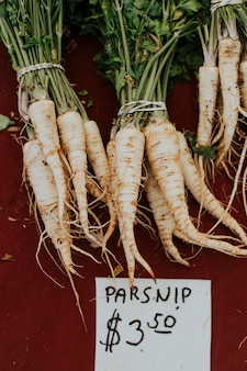 Fresh parsnip at a farmers market