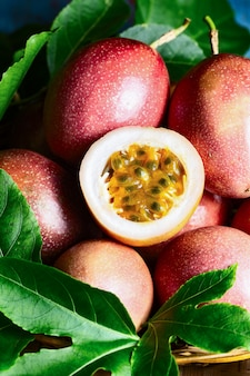 Fresh passion fruit with original leaves