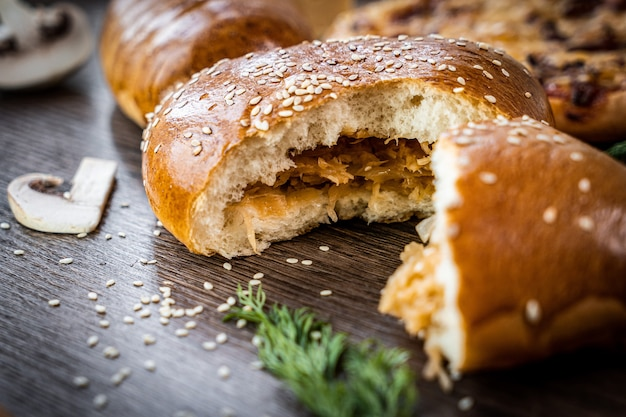 Fresh pastries buns on dark background