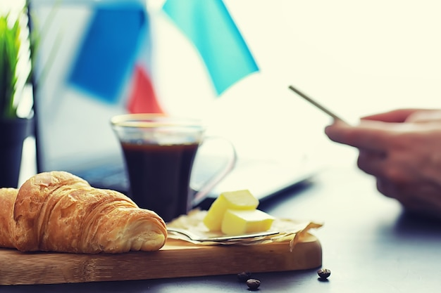 Fresh pastries on the table. french flavored croissant for breakfast.